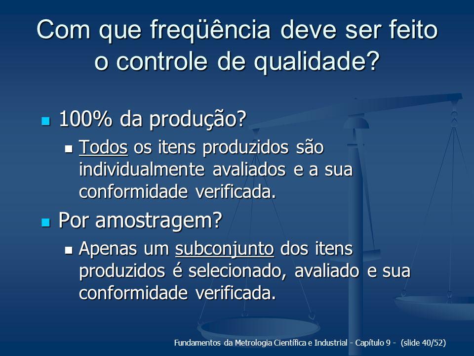 Fundamentos da Metrologia Científica e Industrial - Capítulo 9 - (slide 40/52) Com que freqüência deve ser feito o controle de qualidade? 100% da prod