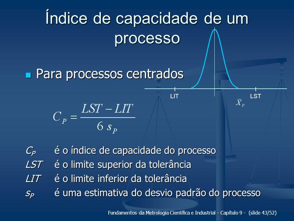 Fundamentos da Metrologia Científica e Industrial - Capítulo 9 - (slide 43/52) Índice de capacidade de um processo Para processos centrados Para proce