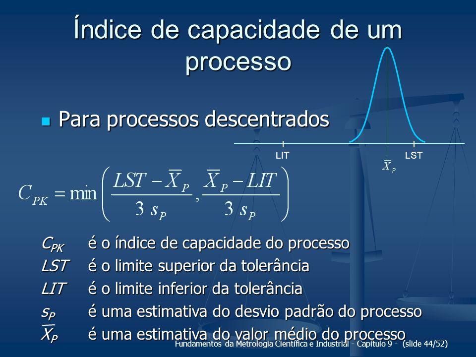 Fundamentos da Metrologia Científica e Industrial - Capítulo 9 - (slide 44/52) Índice de capacidade de um processo Para processos descentrados Para pr