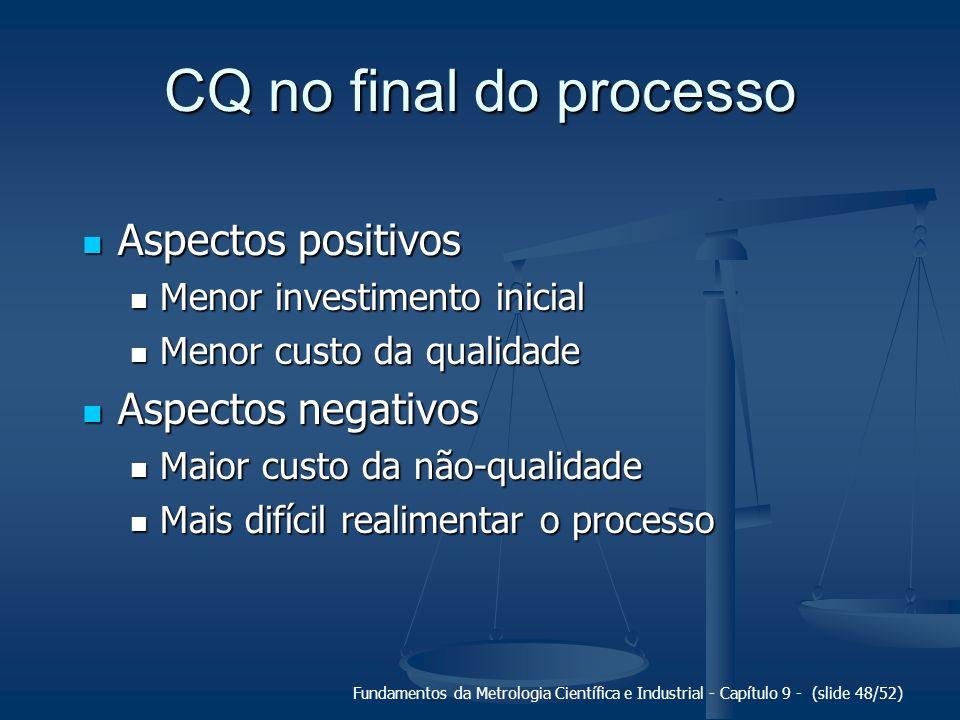 Fundamentos da Metrologia Científica e Industrial - Capítulo 9 - (slide 48/52) CQ no final do processo Aspectos positivos Aspectos positivos Menor inv