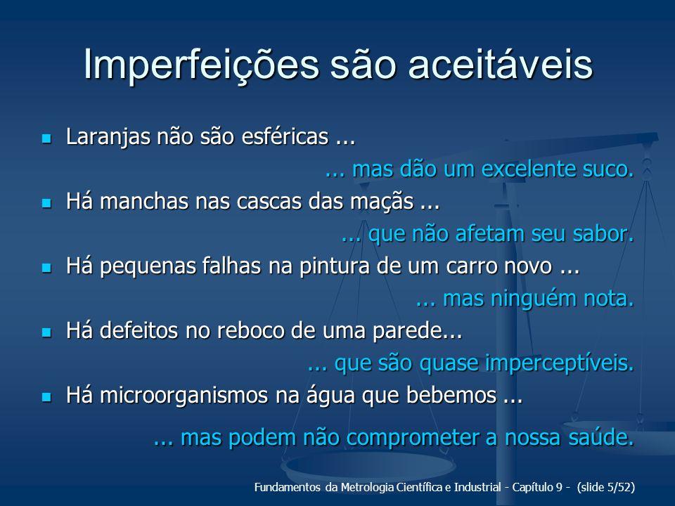 Fundamentos da Metrologia Científica e Industrial - Capítulo 9 - (slide 5/52) Imperfeições são aceitáveis Laranjas não são esféricas... Laranjas não s
