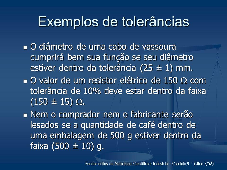 Fundamentos da Metrologia Científica e Industrial - Capítulo 9 - (slide 7/52) Exemplos de tolerâncias O diâmetro de uma cabo de vassoura cumprirá bem
