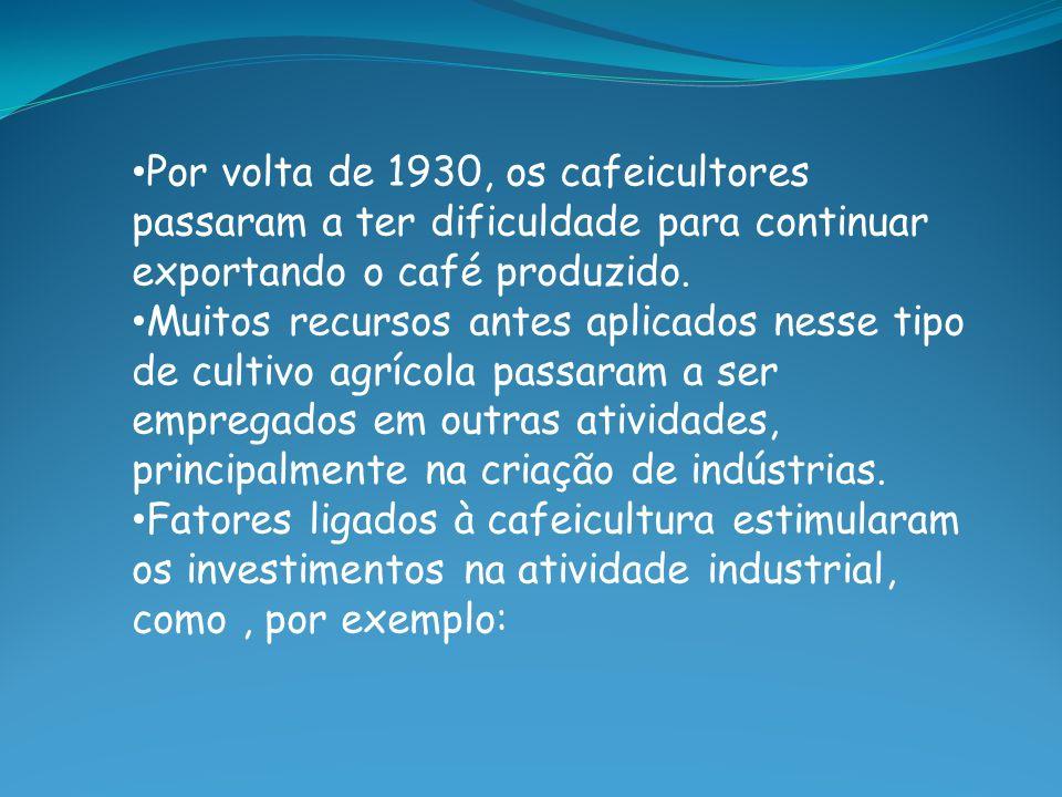 Por volta de 1930, os cafeicultores passaram a ter dificuldade para continuar exportando o café produzido. Muitos recursos antes aplicados nesse tipo