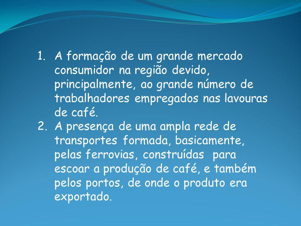 1.A formação de um grande mercado consumidor na região devido, principalmente, ao grande número de trabalhadores empregados nas lavouras de café. 2.A