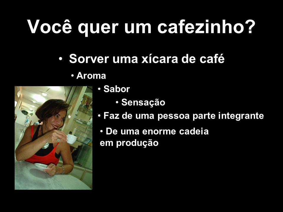 Você quer um cafezinho? Sorver uma xícara de café Aroma Sabor Sensação Faz de uma pessoa parte integrante De uma enorme cadeia em produção Faz da pess