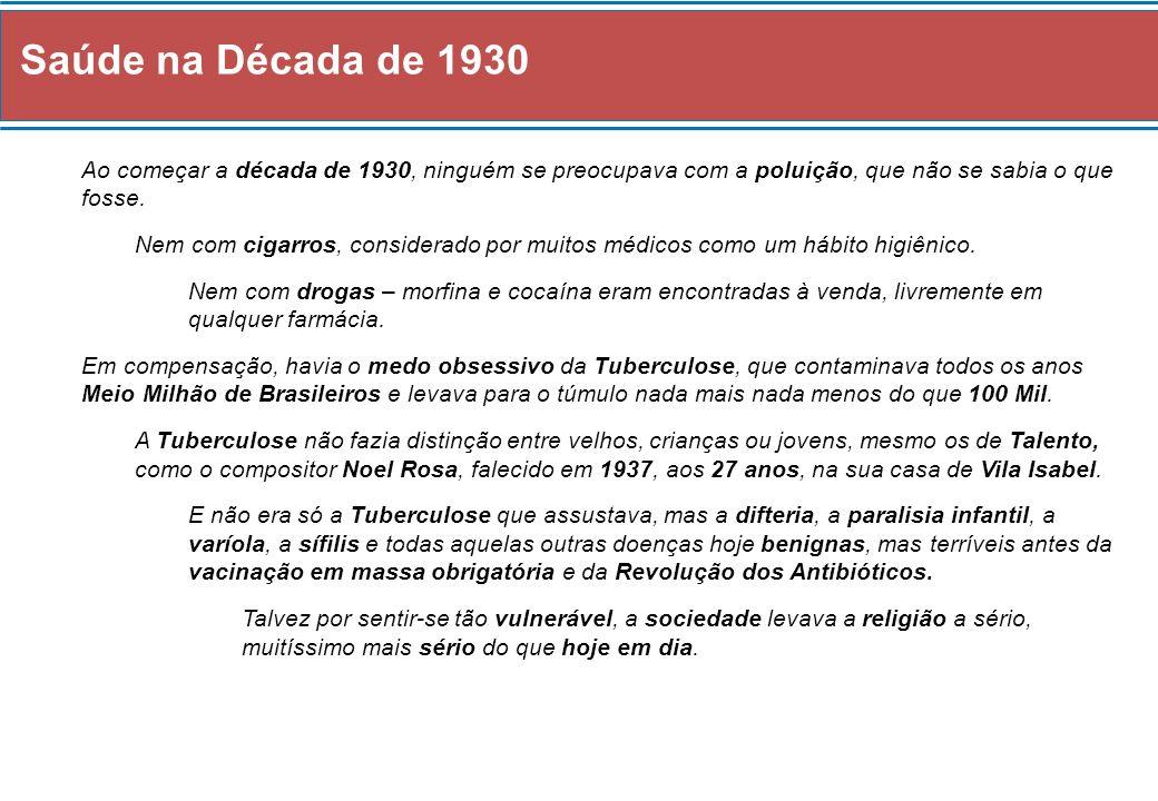 Saúde na Década de 1930 Ao começar a década de 1930, ninguém se preocupava com a poluição, que não se sabia o que fosse. Nem com cigarros, considerado