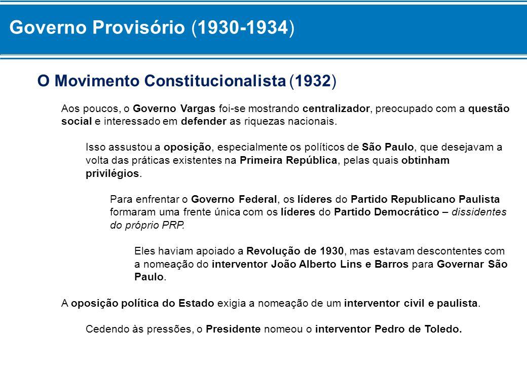Governo Provisório (1930-1934) O Movimento Constitucionalista (1932) Aos poucos, o Governo Vargas foi-se mostrando centralizador, preocupado com a que