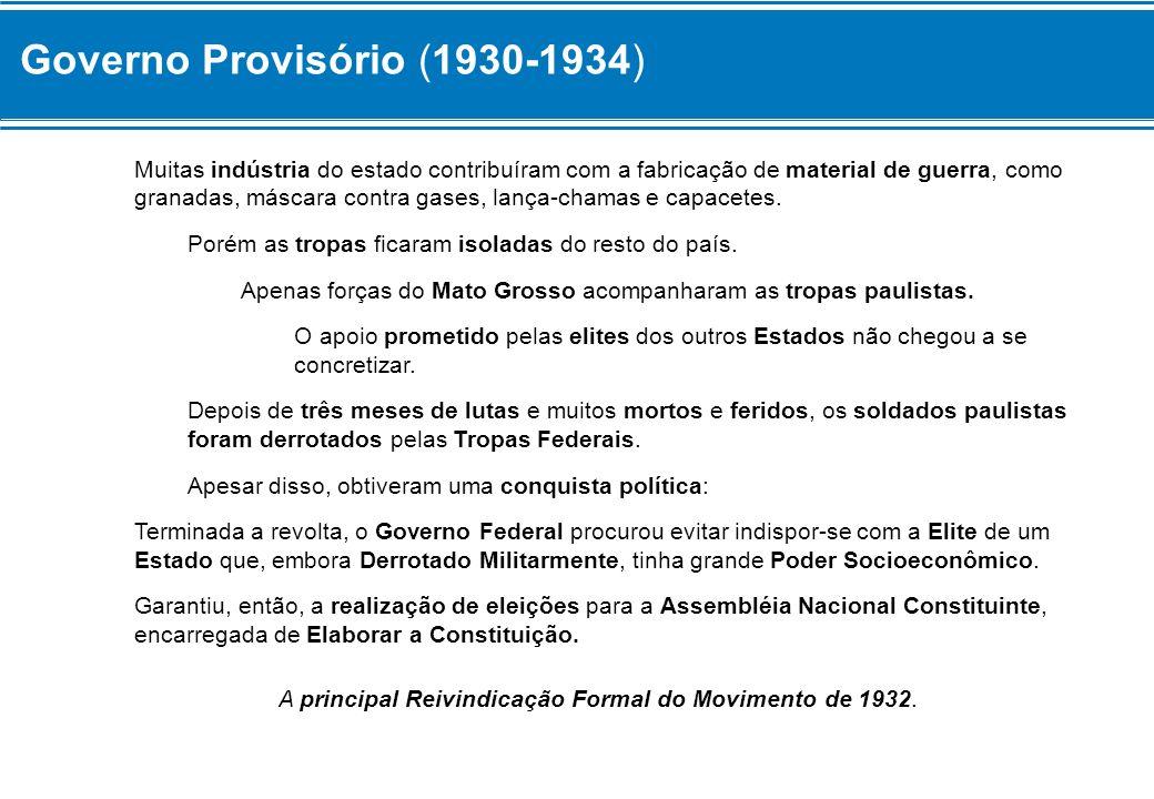 Governo Provisório (1930-1934) Muitas indústria do estado contribuíram com a fabricação de material de guerra, como granadas, máscara contra gases, la