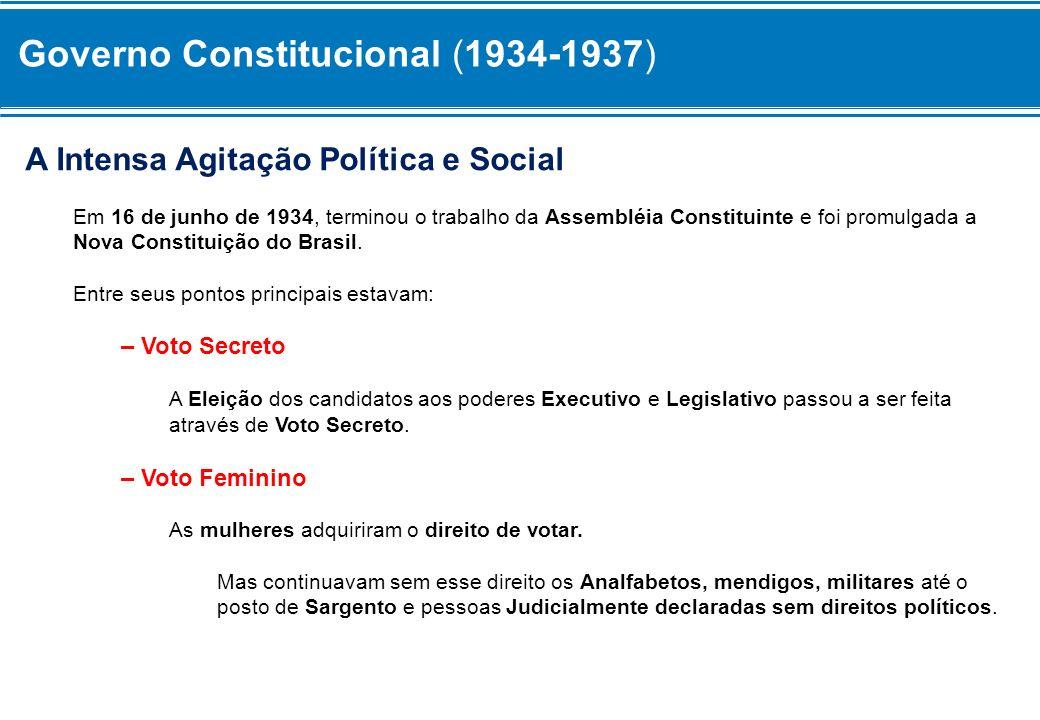 A Intensa Agitação Política e Social Em 16 de junho de 1934, terminou o trabalho da Assembléia Constituinte e foi promulgada a Nova Constituição do Br