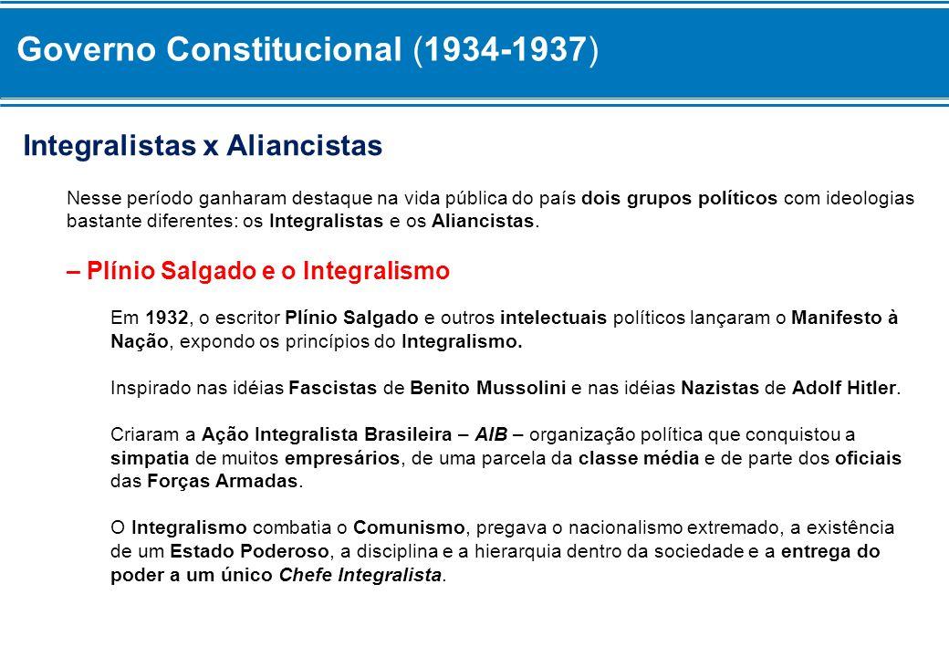 Integralistas x Aliancistas Nesse período ganharam destaque na vida pública do país dois grupos políticos com ideologias bastante diferentes: os Integ