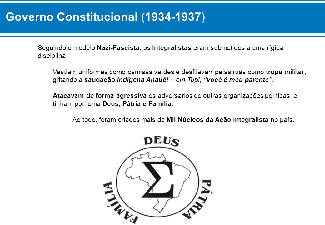 Governo Constitucional (1934-1937) Seguindo o modelo Nazi-Fascista, os Integralistas eram submetidos a uma rígida disciplina: Vestiam uniformes como c