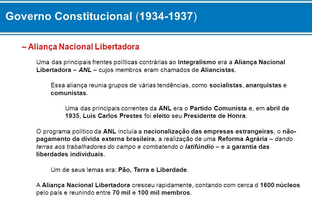 Governo Constitucional (1934-1937) – Aliança Nacional Libertadora Uma das principais frentes políticas contrárias ao Integralismo era a Aliança Nacion