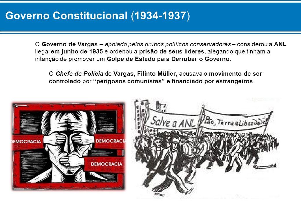 Governo Constitucional (1934-1937) O Governo de Vargas – apoiado pelos grupos políticos conservadores – considerou a ANL ilegal em junho de 1935 e ord