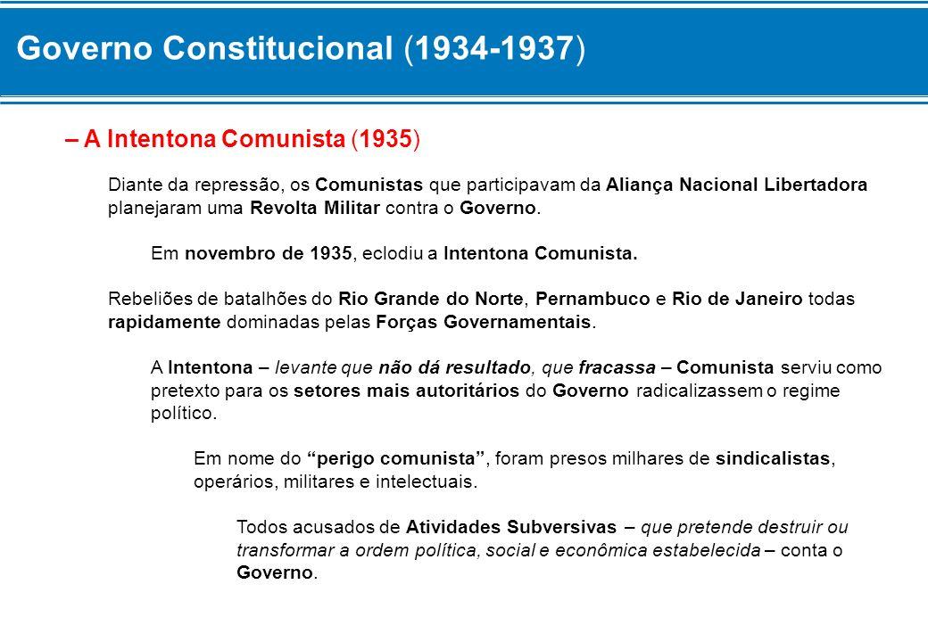 Governo Constitucional (1934-1937) – A Intentona Comunista (1935) Diante da repressão, os Comunistas que participavam da Aliança Nacional Libertadora