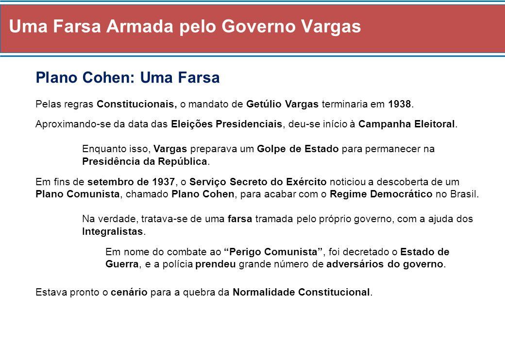 Uma Farsa Armada pelo Governo Vargas Plano Cohen: Uma Farsa Pelas regras Constitucionais, o mandato de Getúlio Vargas terminaria em 1938. Aproximando-