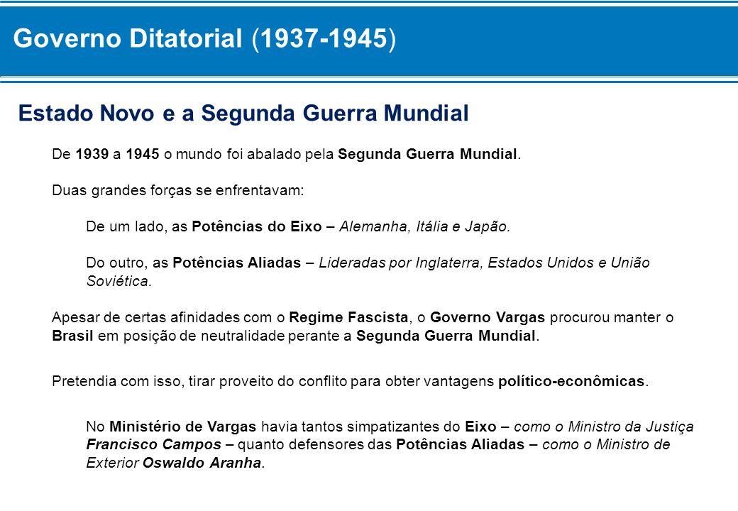 Governo Ditatorial (1937-1945) Estado Novo e a Segunda Guerra Mundial De 1939 a 1945 o mundo foi abalado pela Segunda Guerra Mundial. Duas grandes for