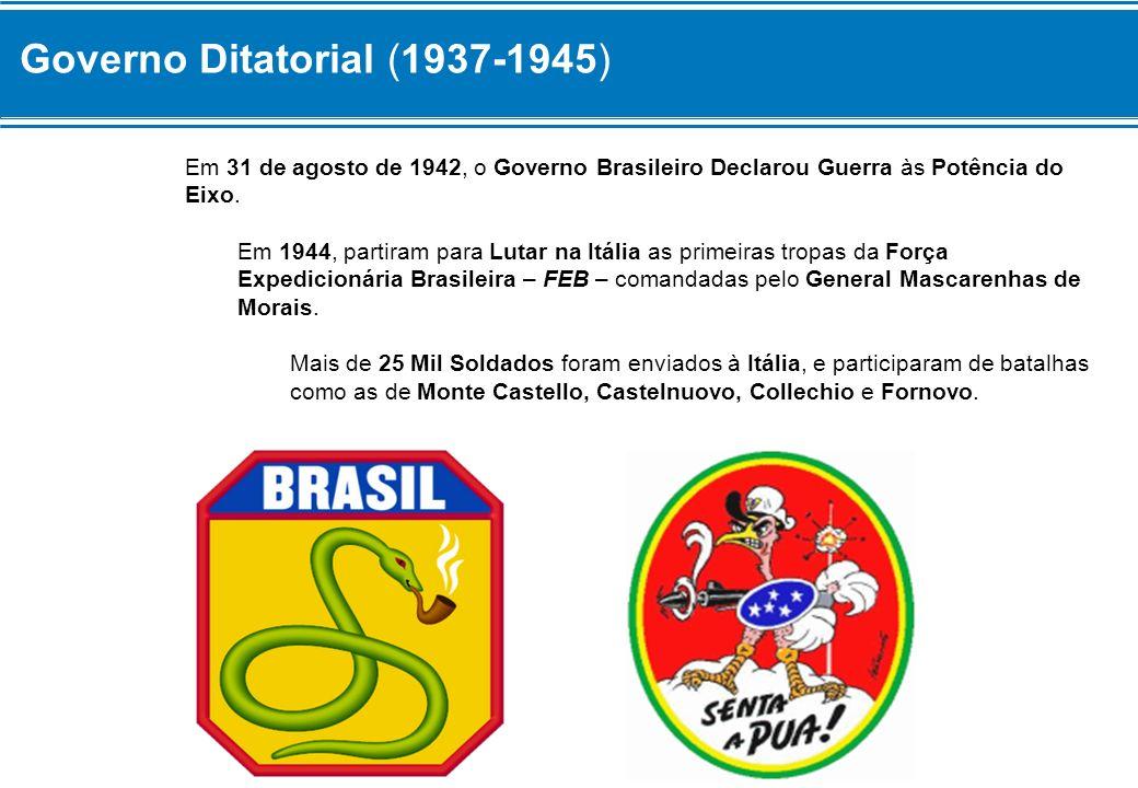 Governo Ditatorial (1937-1945) Em 31 de agosto de 1942, o Governo Brasileiro Declarou Guerra às Potência do Eixo. Em 1944, partiram para Lutar na Itál