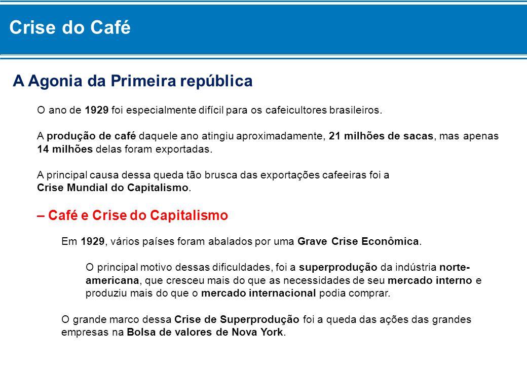 Crise do Café A Agonia da Primeira república O ano de 1929 foi especialmente difícil para os cafeicultores brasileiros. A produção de café daquele ano