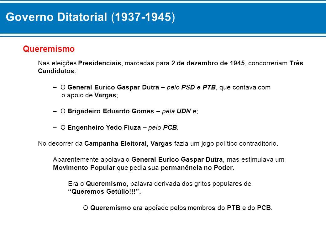 Governo Ditatorial (1937-1945) Queremismo Nas eleições Presidenciais, marcadas para 2 de dezembro de 1945, concorreriam Três Candidatos: – O General E