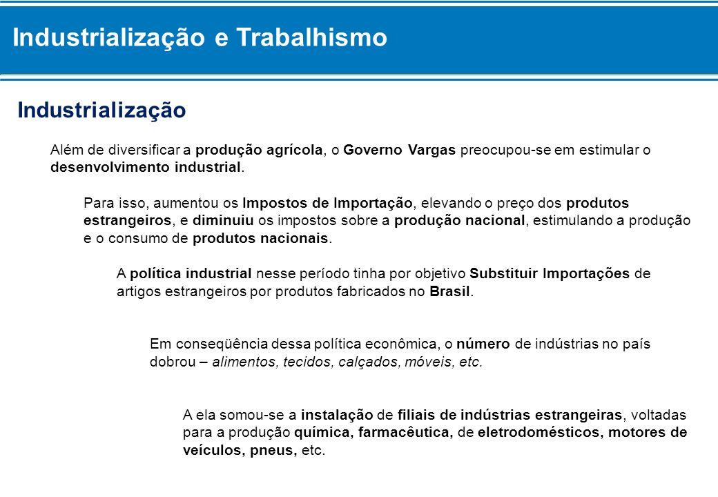 Industrialização e Trabalhismo Industrialização Além de diversificar a produção agrícola, o Governo Vargas preocupou-se em estimular o desenvolvimento