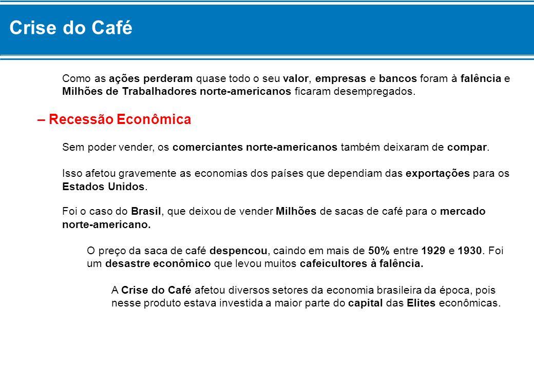 Crise do Café Como as ações perderam quase todo o seu valor, empresas e bancos foram à falência e Milhões de Trabalhadores norte-americanos ficaram de