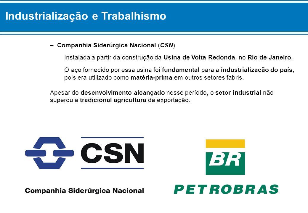 Industrialização e Trabalhismo – Companhia Siderúrgica Nacional (CSN) Instalada a partir da construção da Usina de Volta Redonda, no Rio de Janeiro. O