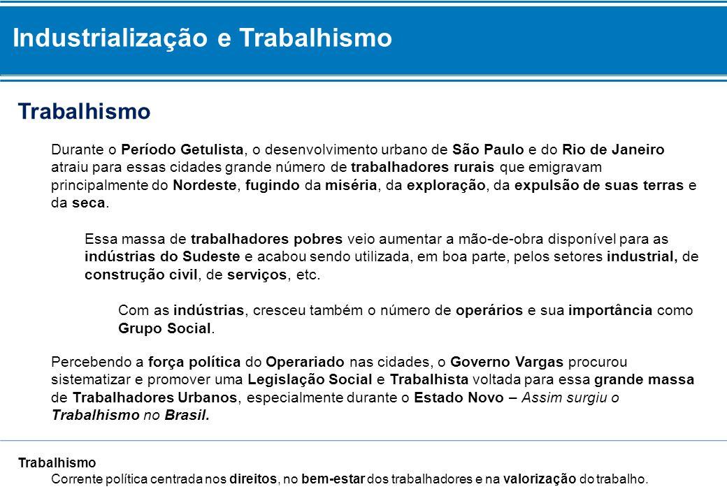 Industrialização e Trabalhismo Trabalhismo Durante o Período Getulista, o desenvolvimento urbano de São Paulo e do Rio de Janeiro atraiu para essas ci