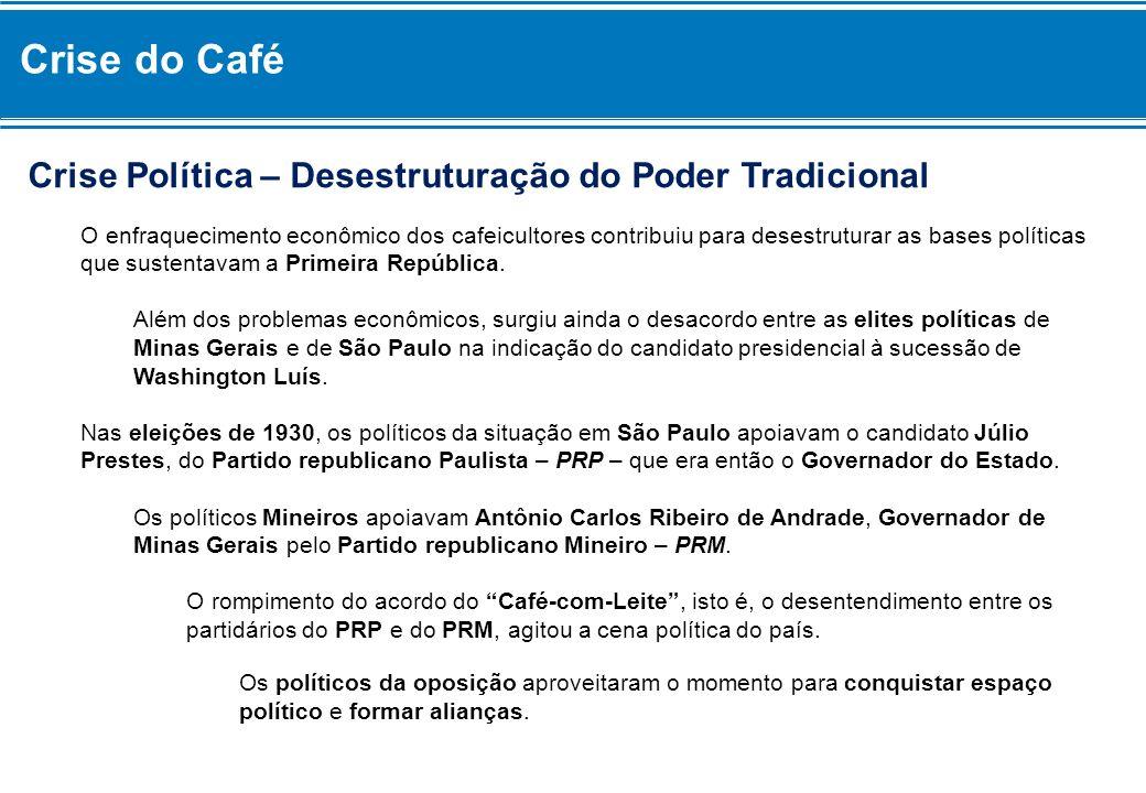 Crise do Café Crise Política – Desestruturação do Poder Tradicional O enfraquecimento econômico dos cafeicultores contribuiu para desestruturar as bas