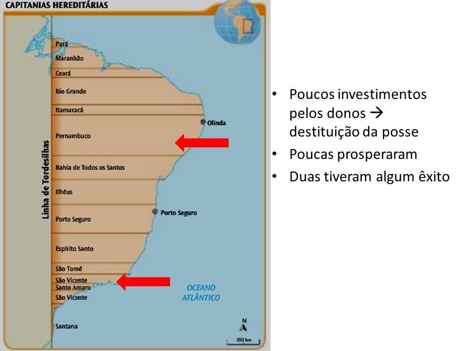 Poucos investimentos pelos donos destituição da posse Poucas prosperaram Duas tiveram algum êxito