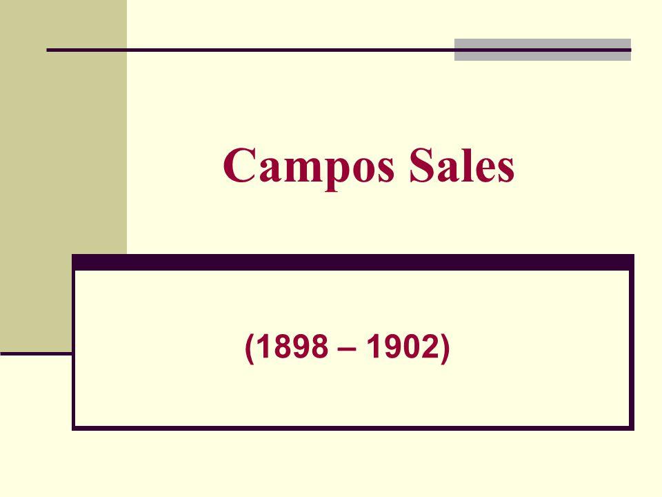 CAMPOS SALES (15/11/1898-15/11/1902) Ex-Governador de São Paulo Crise Econômica e Social: Gerada pela nacionalização e Industrialização Fim do apoio às Indústrias Economia: Modelo Agroexportador (cafeicultores); Algodão, açúcar, erva-mate, borracha, cacau, minério e principalmente café.