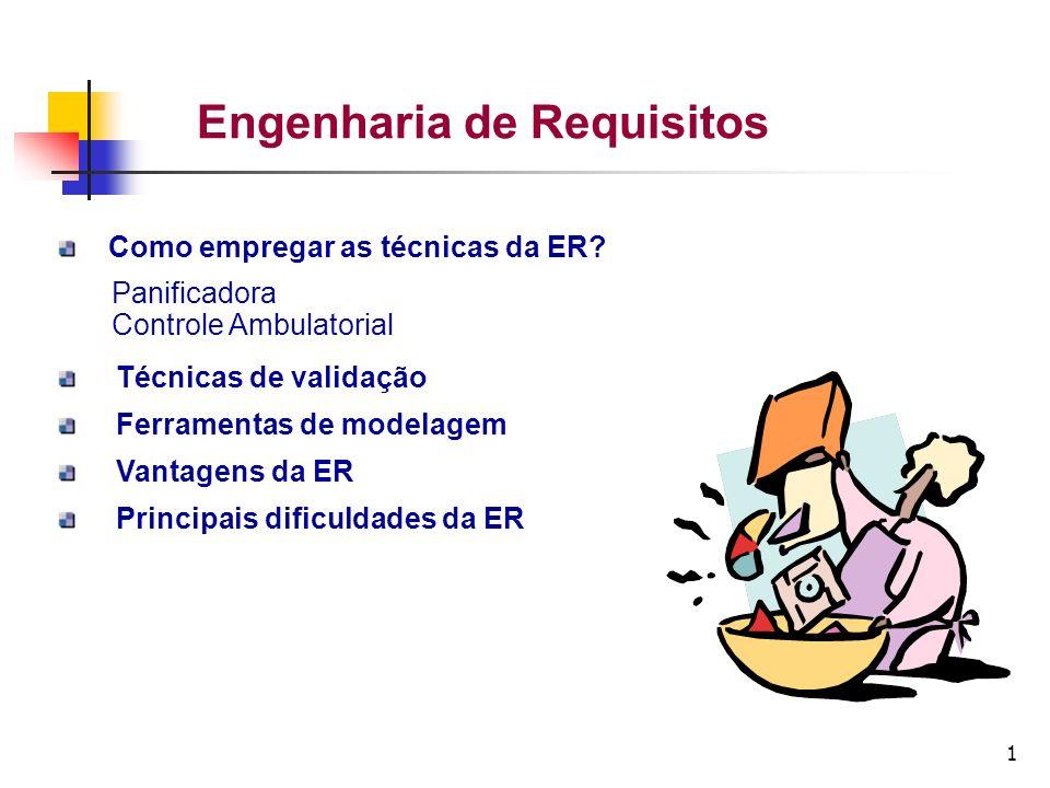 1 Engenharia de Requisitos Como empregar as técnicas da ER? Panificadora Controle Ambulatorial Técnicas de validação Ferramentas de modelagem Vantagen