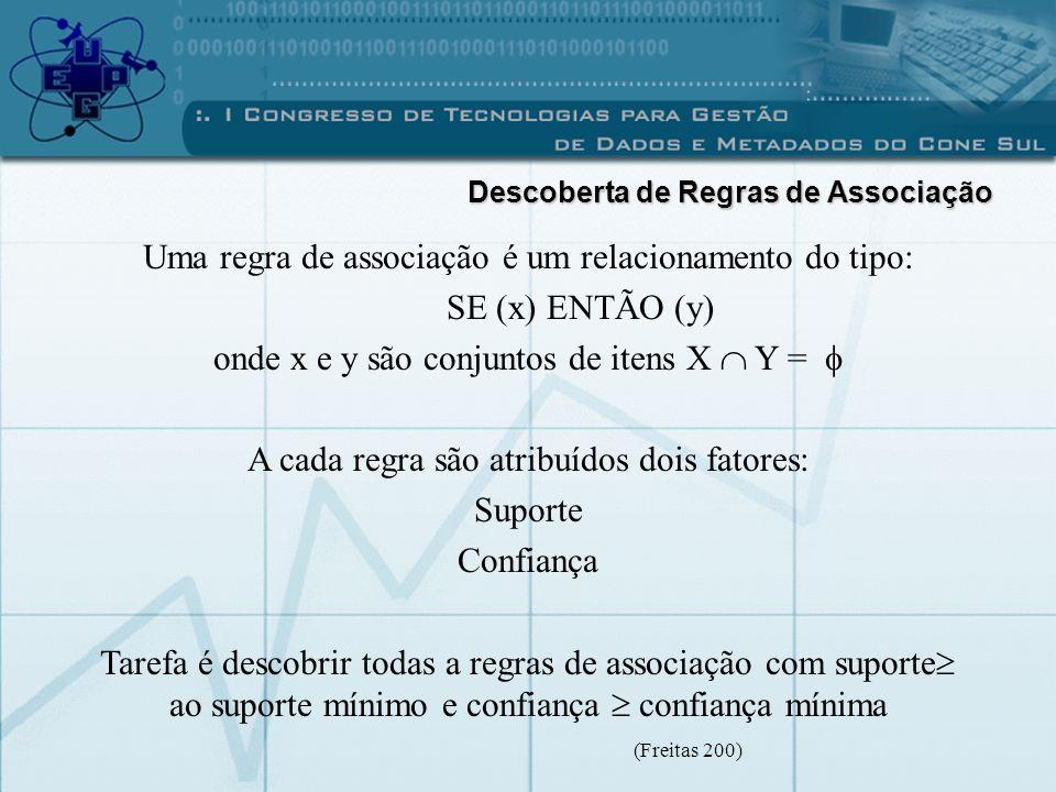 Uma regra de associação é um relacionamento do tipo: SE (x) ENTÃO (y) onde x e y são conjuntos de itens X Y = A cada regra são atribuídos dois fatores