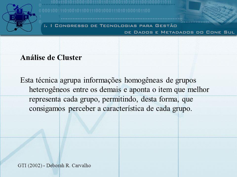 Análise de Cluster Esta técnica agrupa informações homogêneas de grupos heterogêneos entre os demais e aponta o item que melhor representa cada grupo,