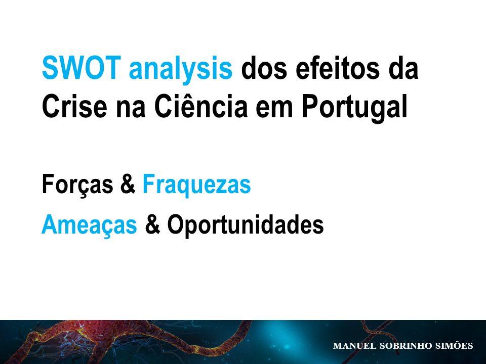 MANUEL SOBRINHO SIM Õ ES SWOT analysis dos efeitos da Crise na Ciência em Portugal Forças & Fraquezas Ameaças & Oportunidades