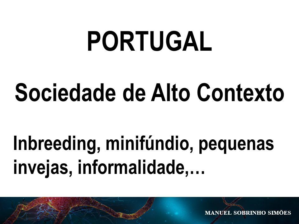 MANUEL SOBRINHO SIM Õ ES PORTUGAL Sociedade de Alto Contexto Inbreeding, minifúndio, pequenas invejas, informalidade,…