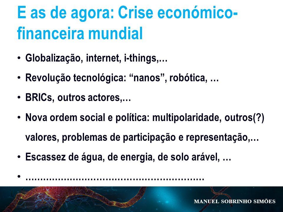 MANUEL SOBRINHO SIM Õ ES E as de agora: Crise económico- financeira mundial Globalização, internet, i-things,… Revolução tecnológica: nanos, robótica,