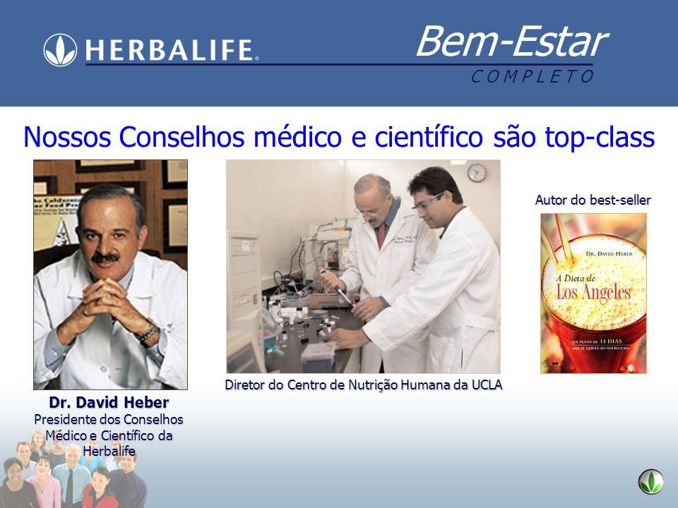 Bem-Estar C O M P L E T O Nossos Conselhos médico e científico são top-class Diretor do Centro de Nutrição Humana da UCLA Dr. David Heber Presidente d