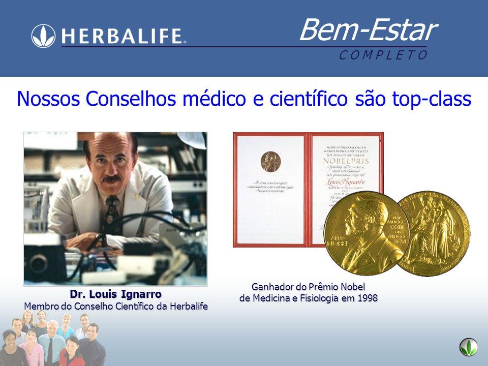 Bem-Estar C O M P L E T O Dr. Louis Ignarro Membro do Conselho Científico da Herbalife Nossos Conselhos médico e científico são top-class Ganhador do