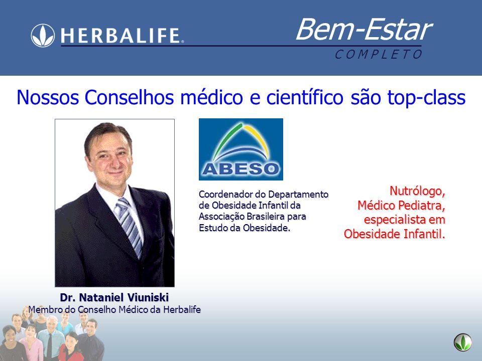 Bem-Estar C O M P L E T O Nossos Conselhos médico e científico são top-class Dr. Nataniel Viuniski Membro do Conselho Médico da Herbalife Coordenador