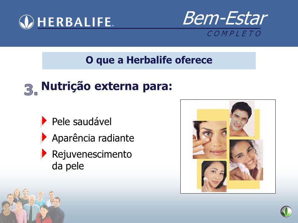 Bem-Estar C O M P L E T O O que a Herbalife oferece Pele saudável Aparência radiante Rejuvenescimento da pele Nutrição externa para: