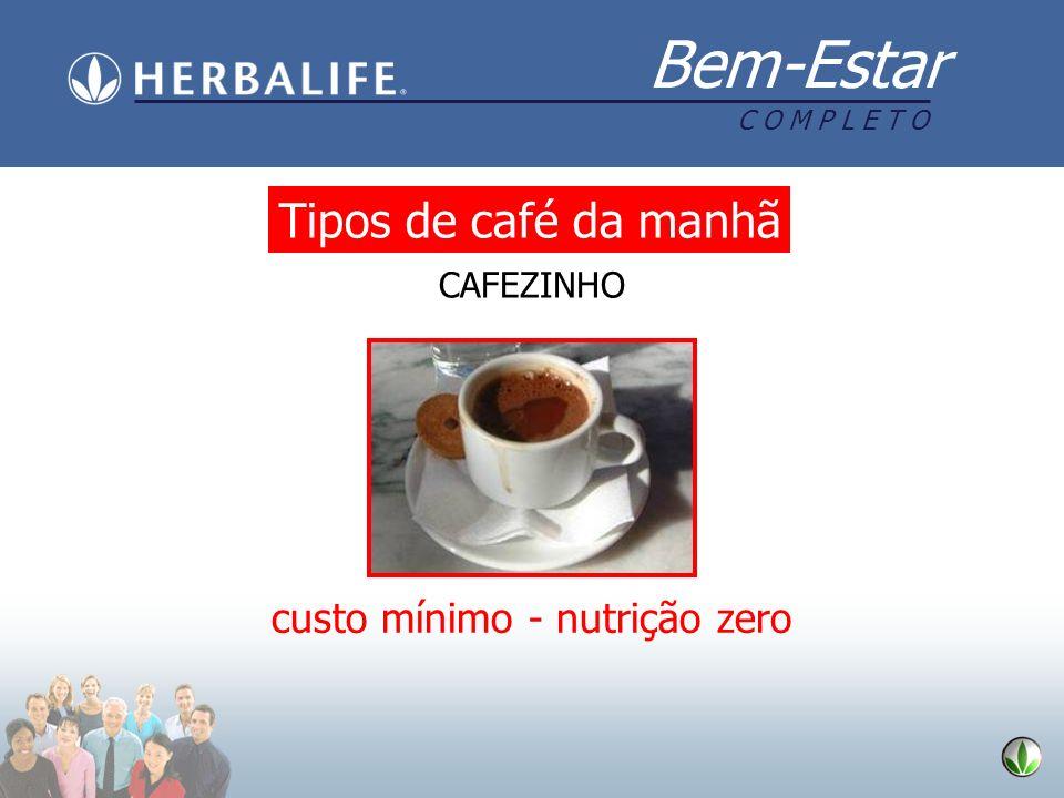 Bem-Estar C O M P L E T O CAFEZINHO custo mínimo - nutrição zero Tipos de café da manhã