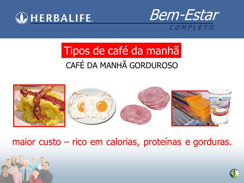 Bem-Estar C O M P L E T O maior custo – rico em calorias, proteínas e gorduras. Tipos de café da manhã CAFÉ DA MANHÃ GORDUROSO