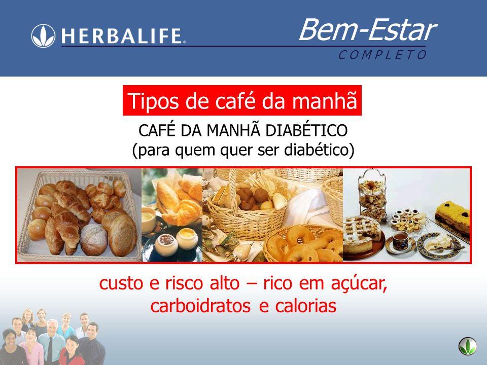 Bem-Estar C O M P L E T O Tipos de café da manhã CAFÉ DA MANHÃ DIABÉTICO (para quem quer ser diabético) custo e risco alto – rico em açúcar, carboidra