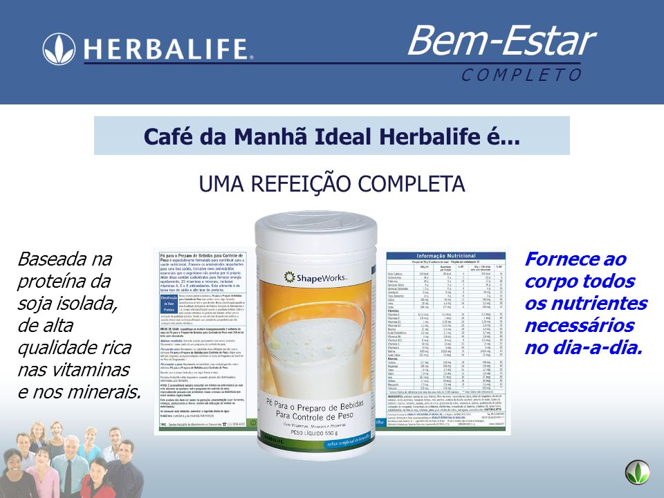 Bem-Estar C O M P L E T O UMA REFEIÇÃO COMPLETA Baseada na proteína da soja isolada, de alta qualidade rica nas vitaminas e nos minerais. Fornece ao c