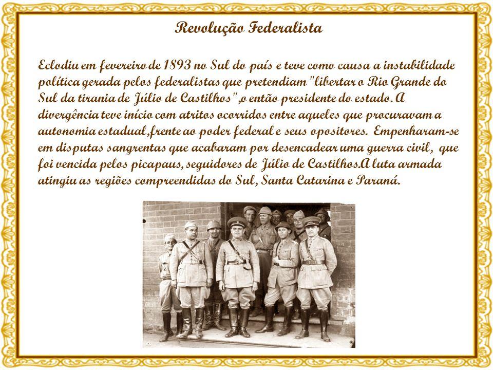 Revolução Federalista Eclodiu em fevereiro de 1893 no Sul do país e teve como causa a instabilidade política gerada pelos federalistas que pretendiam