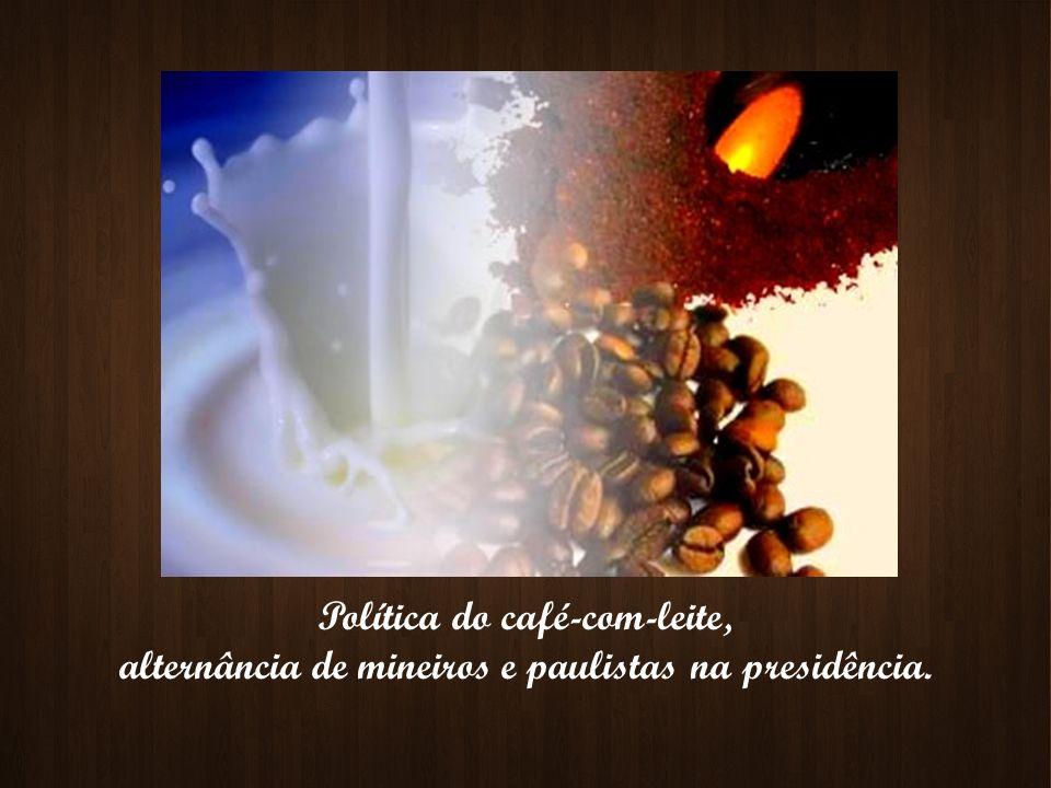 Política do café-com-leite, alternância de mineiros e paulistas na presidência.