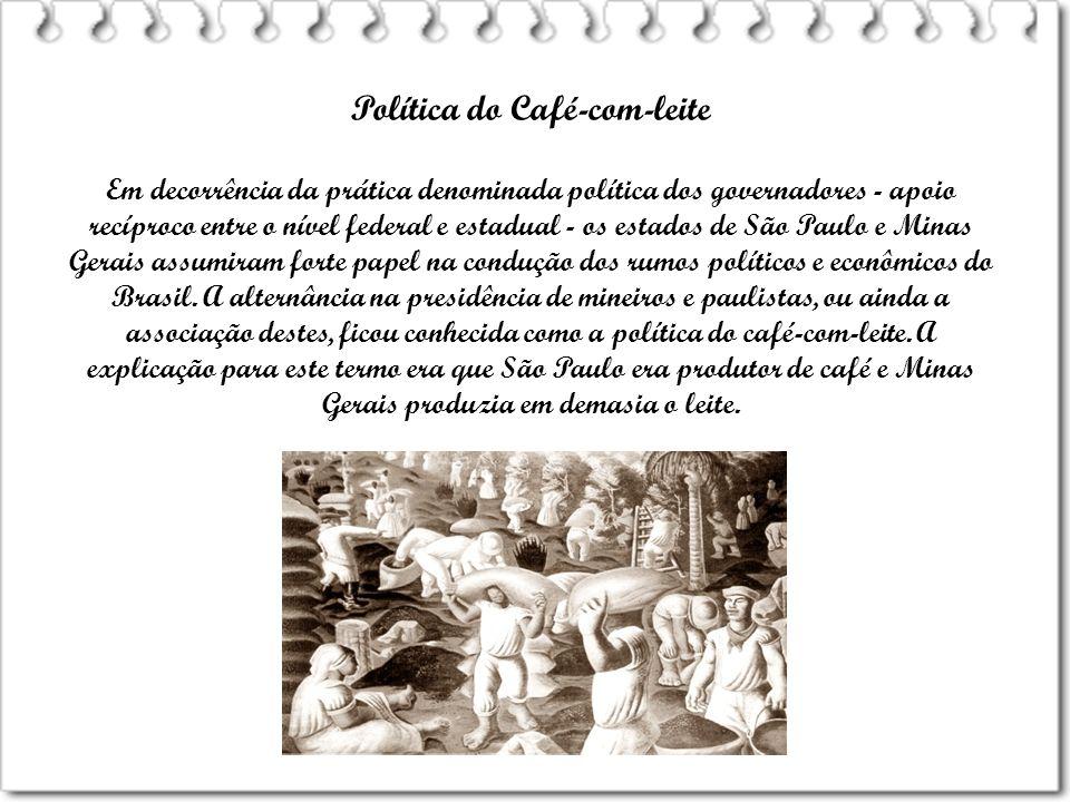 Política do Café-com-leite Em decorrência da prática denominada política dos governadores - apoio recíproco entre o nível federal e estadual - os esta