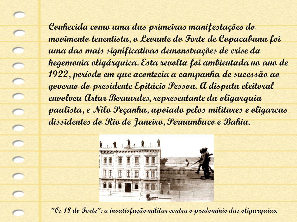 Conhecida como uma das primeiras manifestações do movimento tenentista, o Levante do Forte de Copacabana foi uma das mais significativas demonstrações