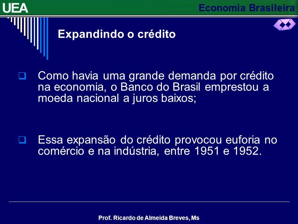 Economia Brasileira Prof. Ricardo de Almeida Breves, Ms O grande crescimento industrial intensificou a demanda pelas importações de bens de capital; E