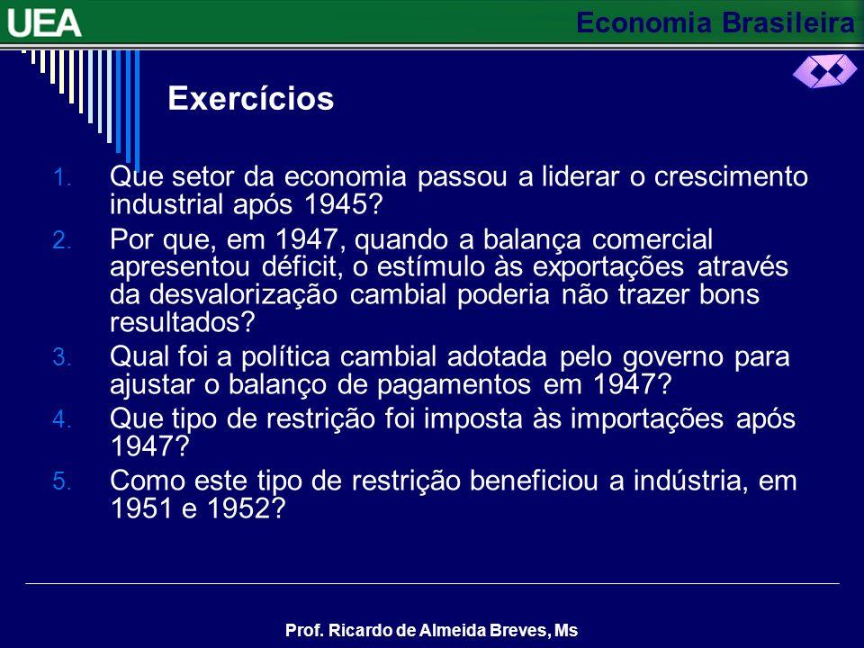 Economia Brasileira Prof. Ricardo de Almeida Breves, Ms Enfim, de 1947 a 1955, a indústria brasileira experimentou um grande crescimento, aumentando s
